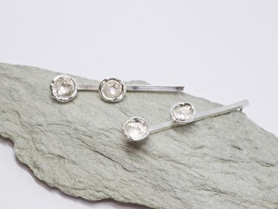 Water Cast Drop Sterling Silver Drop Stud Earrings
