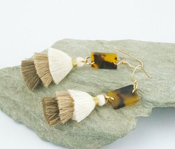 Tortoise Shell Acetate and 3 Tier Beige Scale Tassel Earrings - Statement Geometric Shape Dangle - Gold Filled