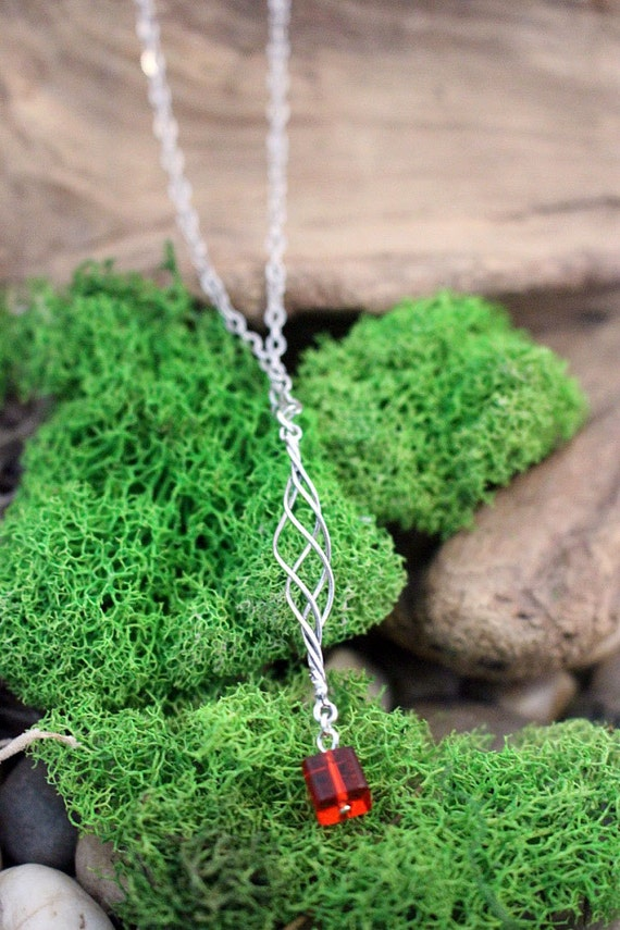 Red Cube With Sterling Silver Cage Minimal Necklace