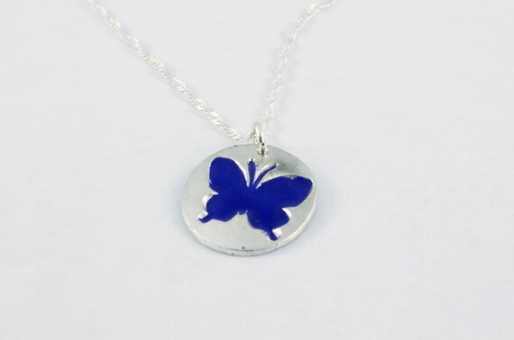 Sterling Silver Blue Enamelled Butterfly Charm Necklace