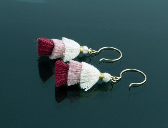 Raspberry Cream 3 Tier Tassel Earrings - Statement Dangle - Gold Filled - Gift Idea