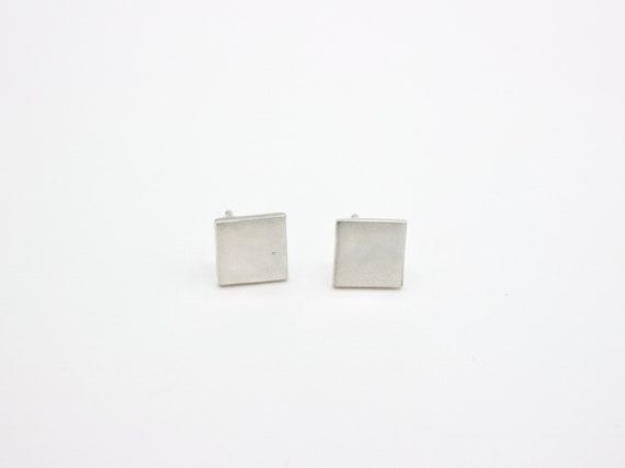 Minimal Sterling Silver Square Stud Earrings