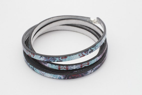 Leather euro printed wrap bracelet gift for her