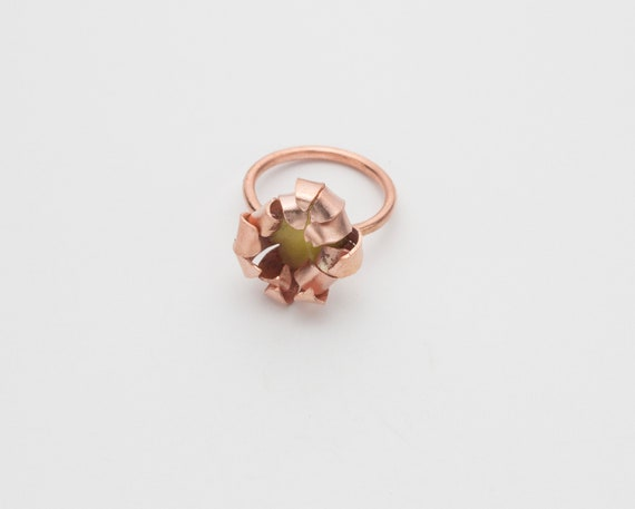 Copper and Yellow Enamel Flower Statement Ring