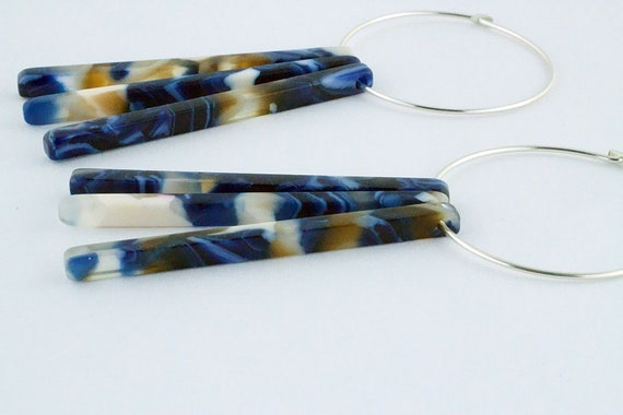 Blue Multi Color Acetate Stick Hoop Earrings - Statement Geometric Shape Dangle - Sterling Silver - Gift For Her
