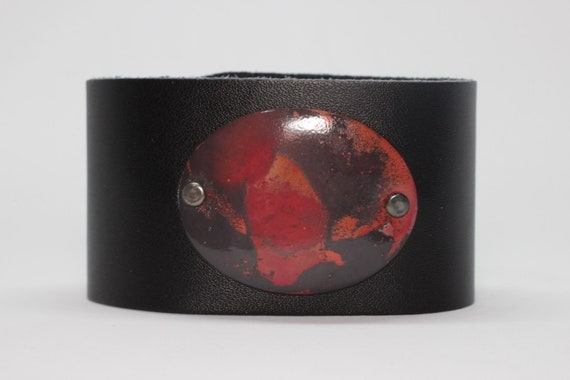 Leather With Oval Copper Patina Bracelet, Cuff
