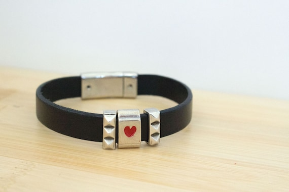 Silver Heart Slider Black Leather Bracelet