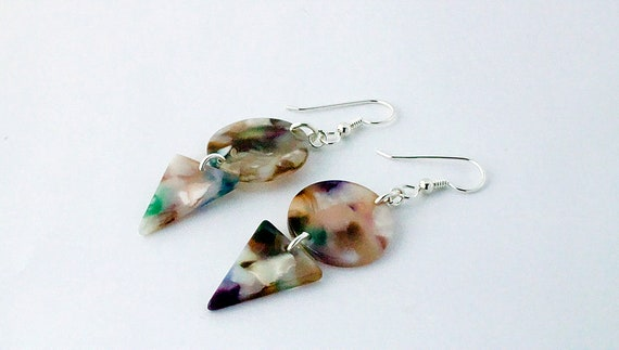 Multi Color Acetate Earrings - Statement Geometric Shape Dangle - Gift For Her