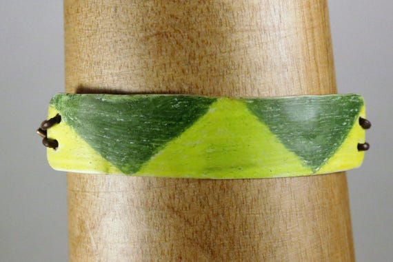Green Prism Crayon Coloured Copper & Leather Lace Bracelet