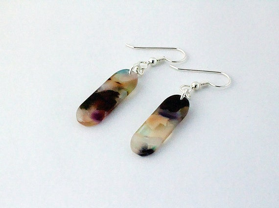 Brown Multi Color Elongated Oval Acetate Earrings - Statement Geometric Shape Dangle - Sterling Silver - Gift For Her
