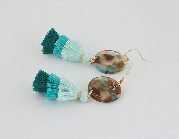 Multi Color Acetate Coin & Tassel Earrings - Statement Geometric Shape Dangle - Gift For Her