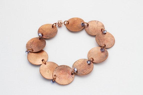 Patina Roller Print Copper Disc Bracelet
