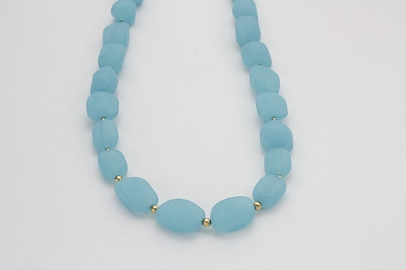 Opal Blue Recycled Glass &  Gold bead  Necklace