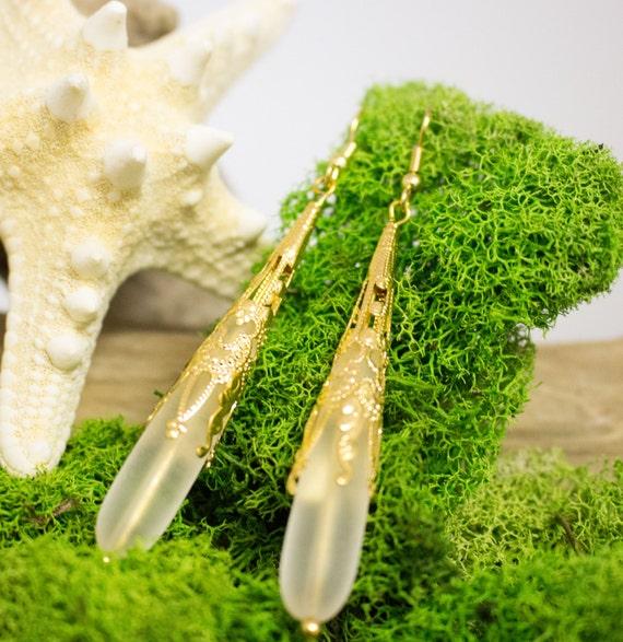 Sea Glass and Gold Filigree Dangle Earrings