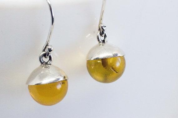 Amber & Sterling Silver Dangle Earrings