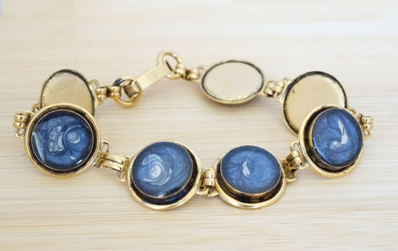 Blue Painted & Resin Link Antique Gold Bracelet