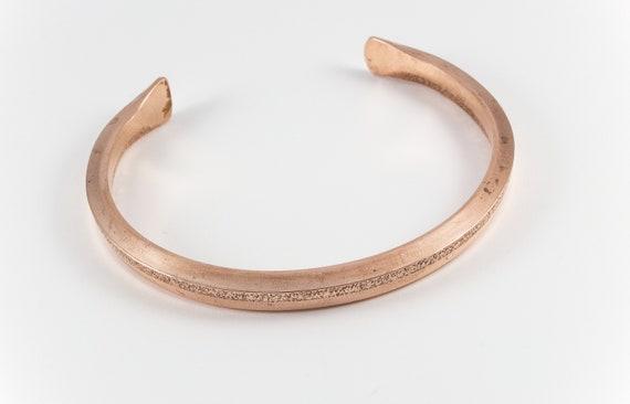 Square Textured Copper Cuff - Copper Rod - Gift Ideas