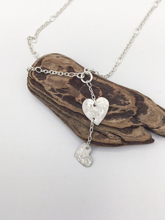 Fine Silver Textured Double Heart Necklace