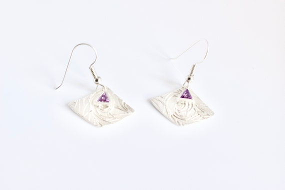 Art Deco Fine Silver Earrings with Amethyst Triangle CZ