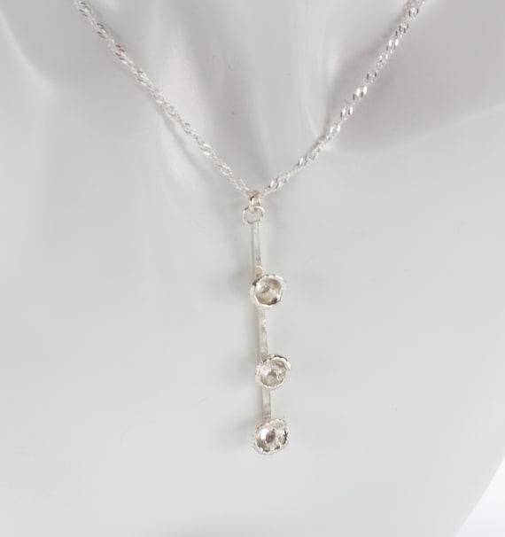 Water Cast Geometric Sterling Silver Pendant Designer Necklace