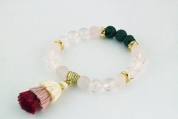 Rose Quartz Essential Oil Lava Bead Bracelet with Tassel
