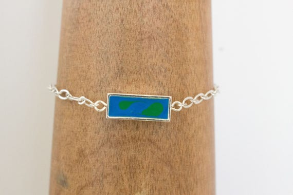 Blue Prism Fantasy Paint Filled Bezel & Silver Chain Bracelet, Gift Idea