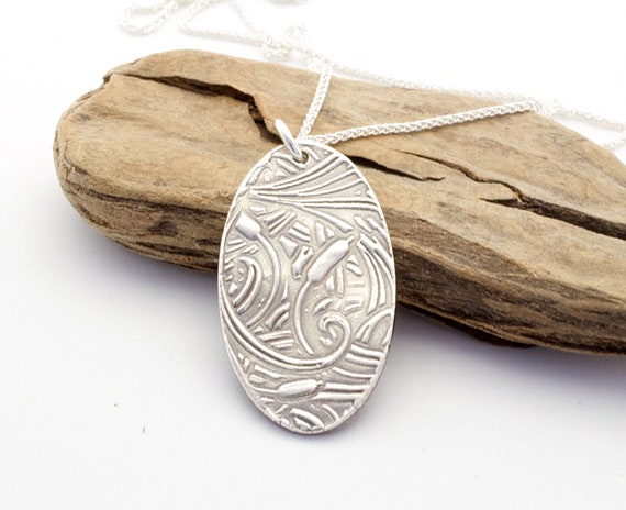 Sterling Silver Cattail Print Necklace For Her