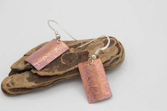 Texture Embossed Light Purple Patina Copper Earrings