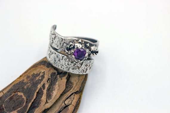 Sterling Silver Wrap Ring with Purple CZ Stone Ring