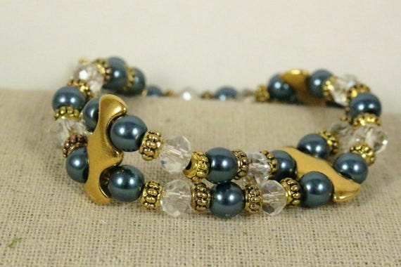 Teal Glass Pearl Bead & Gold Spacer Bracelet