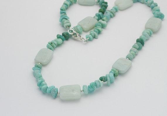 Blue Amazonite Bead & Russian Chip Gemstone Pendant Necklace