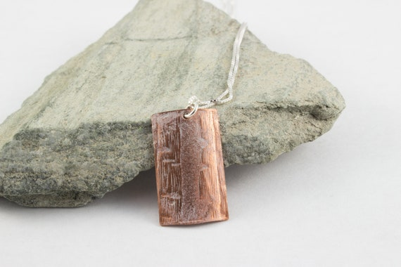 Embossed Copper Pendant Necklace