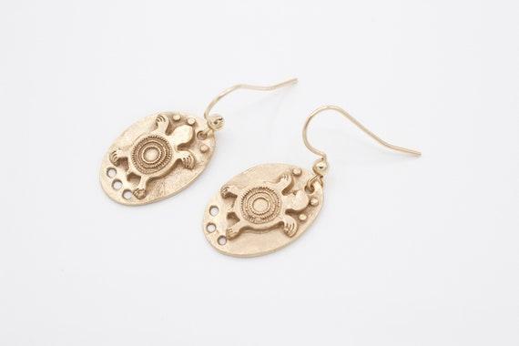 Bronze Aztec Dangle Earrings