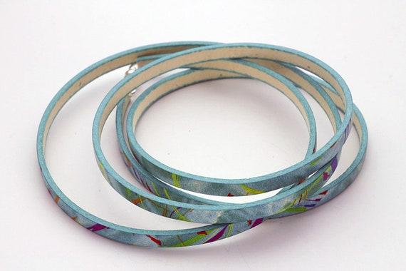 Italian Leather Print Wrap Bracelet Gift For Her