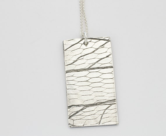 Sterling Silver Honeycomb Print Necklace - Gift Idea For Her