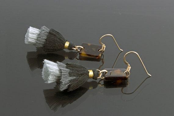 Tortoise Shell Acetate and 3 Tier Grey Scale Tassel Earrings - Statement Geometric Shape Dangle - Gold Filled