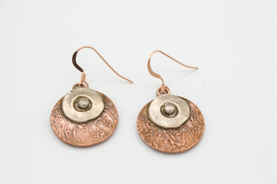 Round Red Copper & Silver Copper Dangle Earrings