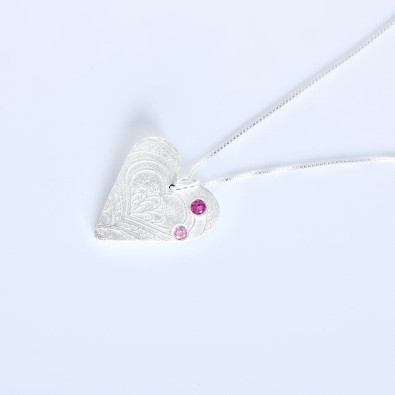 Fine Silver Heart Pendant with CZ Birthstones