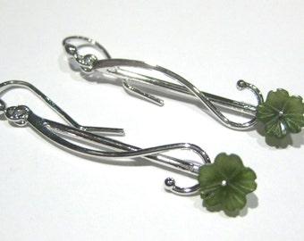 jade earrings -flower-