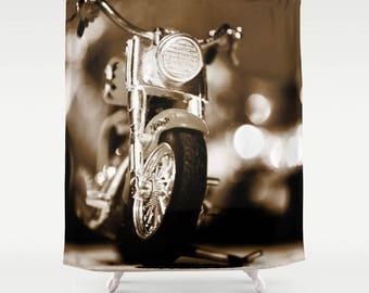 Brown Shower Curtain Motorbike Man Cave Decor Manly Gift Motorcycle Gifts Bath Dark Bathroom
