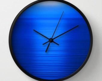 Deep Blue Wall Clock, Blue Clock, Sunset Photography, Nature Photography, Landscape Photography, Ocean Photography, Royal Blue Sea at Sunset