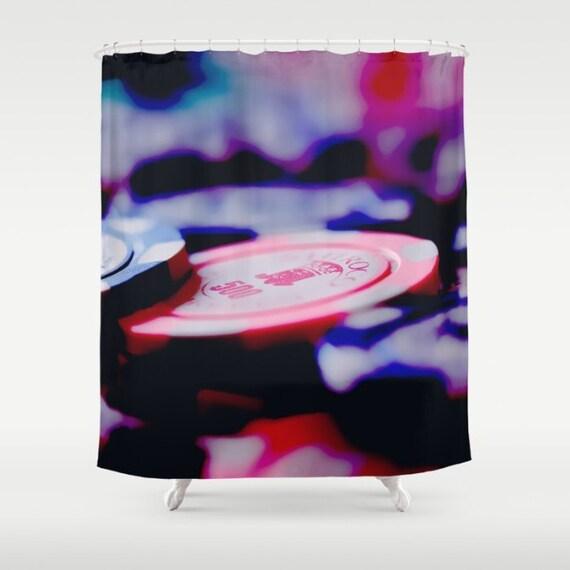Casino Chips Shower Curtain Purple Red