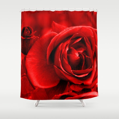 Red Rose Foundation Australia Home: Red Rose Shower Curtain Washable Fabric Nature Home Decor