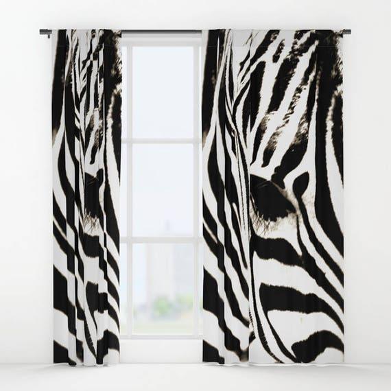 Zebra Curtains Zebra Print Curtain Window Curtains Black Etsy