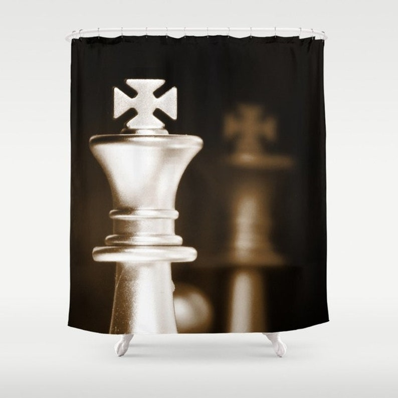 Brown Shower Curtain Chess Man Cave Decor Manly Gift