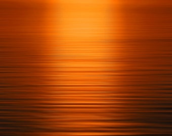 Deep Orange Sea at Sunset, Nature Photography, Landscape Photography, Wall Art Print