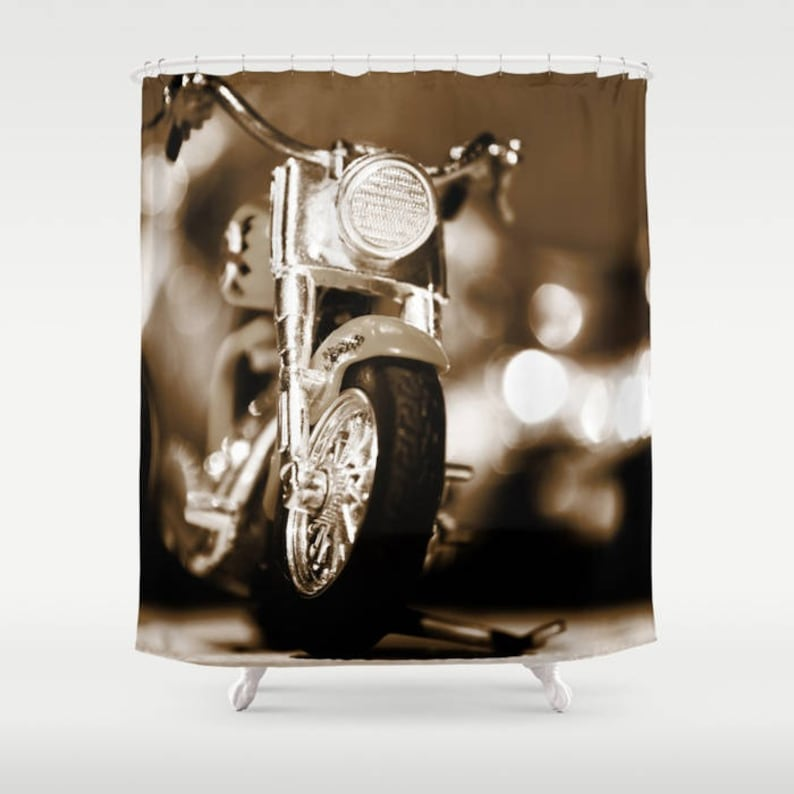 Brown Shower Curtain Motorbike Man Cave Decor Manly Gift