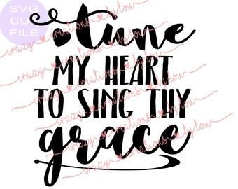 Tune my heart to sing thy grace digital cut file for htv-vinyl-decal-diy-plotter-vinyl cutter-craft cutter-svg-dxf-jpeg format