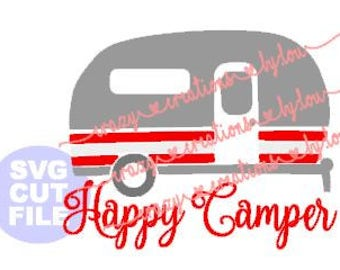 Happy Camper Camping Trailer digital cut file for htv-vinyl-decal-diy-plotter-vinyl cutter-craft cutter-.SVG and .DXF & Jpeg format