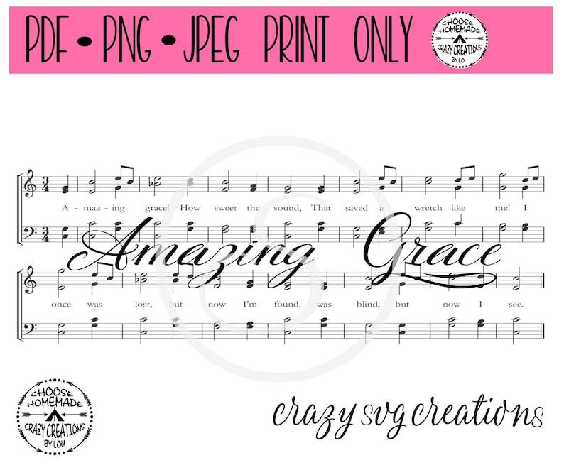 Amazing Grace Sheet Music Sublimation Print Only Png Jpeg Pdf 11oz Cup Wrap